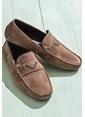 Elle %100 Deri Loafer Ayakkabı Kahve